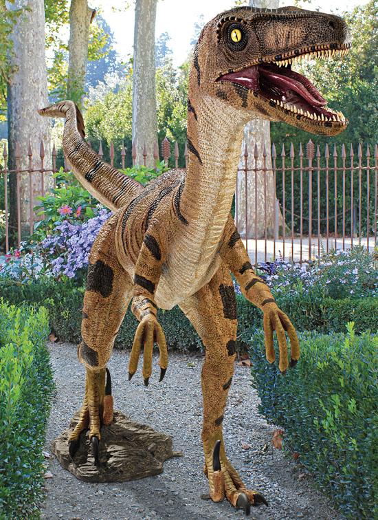 Velociraptor, Jurassic-sized Dinosaur Yard Statue