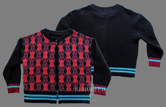 Vintage Black Widow Argyle Knit 3-4 Sleeve Cropped Cardigan 1
