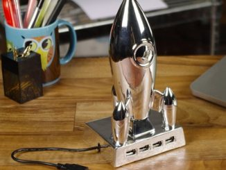 Vintage Retro Silver Moon Rocket Ship USB 4 Port Hub