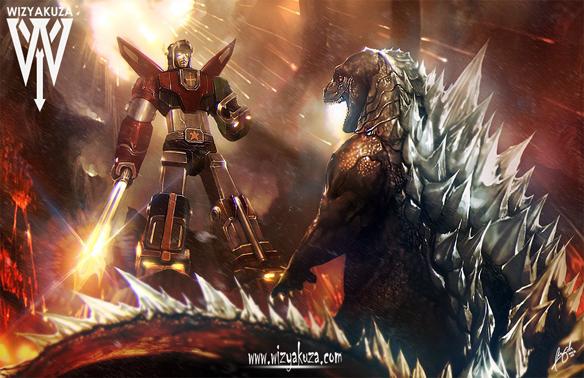 Voltron vs Godzilla Art Print