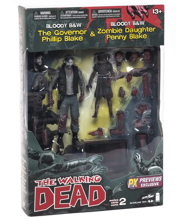 Walking Dead Black and White Bloody Governor and Penny Figures