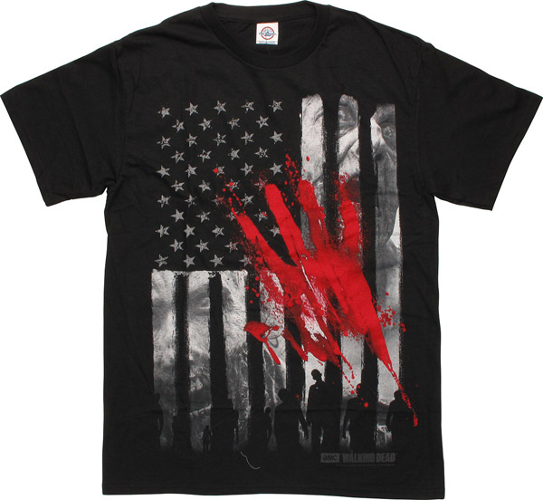 Walking Dead Bloody Hand Flag T-Shirt