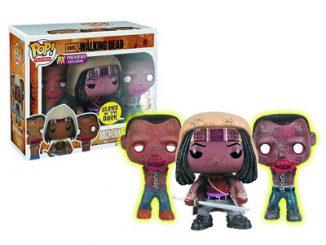 Walking Dead Michonne and Glow-In-Dark Pet Zombies Pop Vinyl Figure