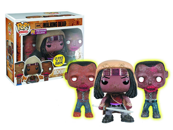 Walking Dead Michonne with Glow in Dark Pet Zombies