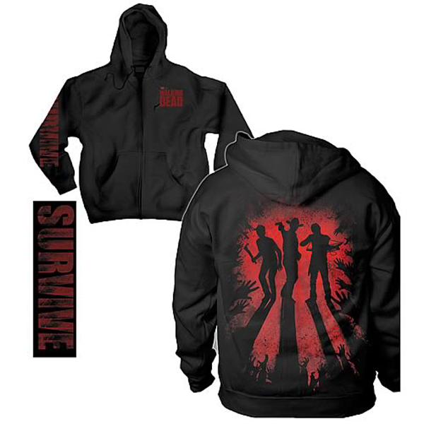 Walking Dead Survive Silhouette Black Zip-Up Hoodie