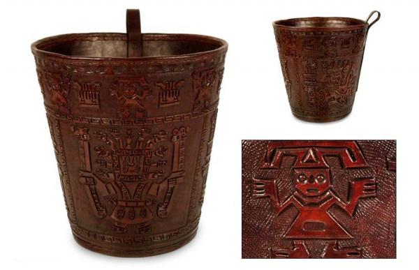 Warrior Head Leather waste basket