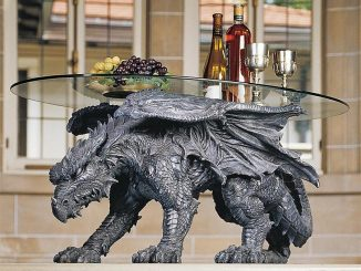 Warwickshire Dragon Glass Topped Coffee Table