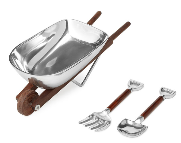 Wheelbarrow Salad Bowl with Wooden Serving Utensils