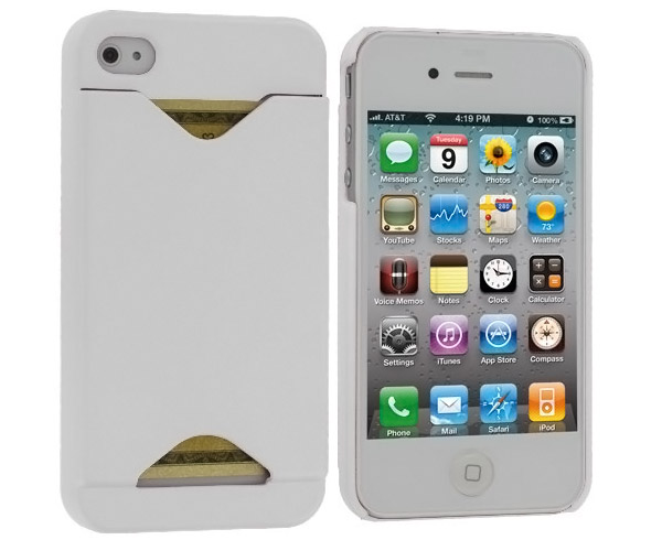 White Credit Card ID Case for Apple iPhone 4