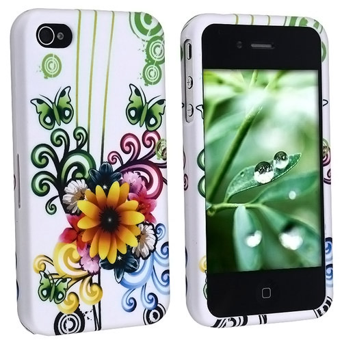 White Flower Floral Butterfly Hard Design Crystal Case