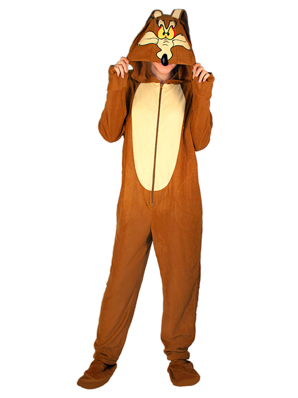 Wile Coyote Hooded Footed Adult Pajamas