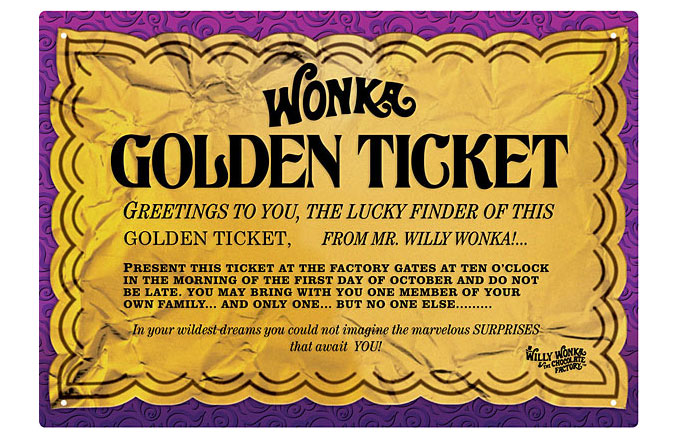 Willy Wonka Golden Ticket Tin Sign