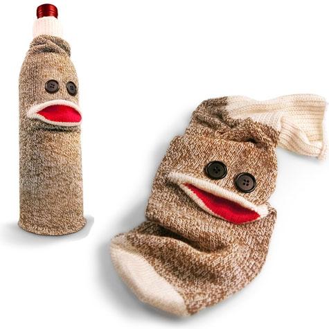 Wine Monkey Cotton Sock