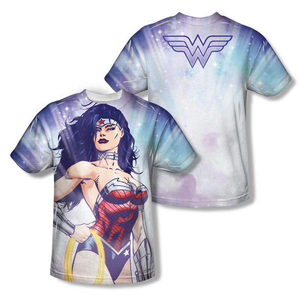 Wonder Woman Allover Print Warrior Goddess Adult Shirt
