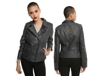d79829202d7a Wonder Woman Studded Leather Girls Moto Jacket