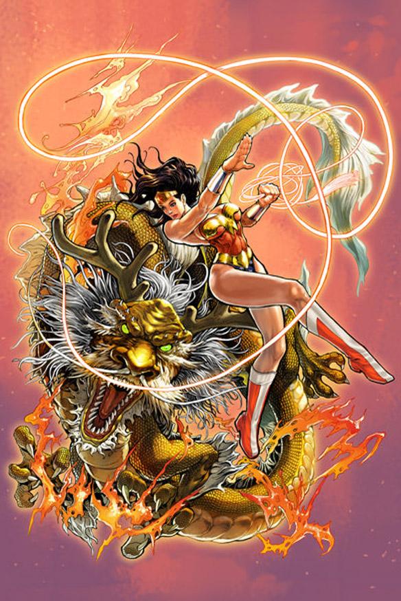 Wonder Woman and Dragon Art Print