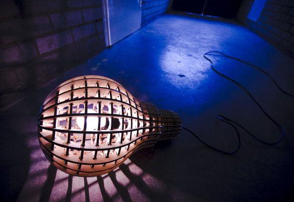 Wooden Bulb Designed Lamp