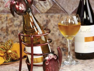 Wrought Iron Dog Table Top Wine Bottle Holder
