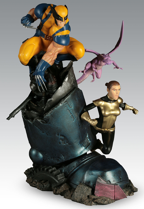 X-Men VS Sentinel Wolverine and Shadowcat Polystone Diorama
