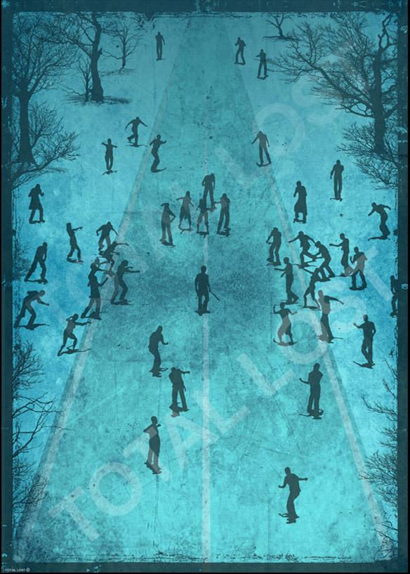 Zombie Art Print Blue