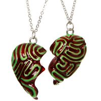 Zombie Brain Besties Heart Necklace