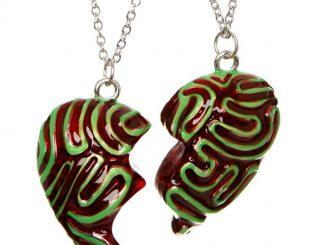 Zombie Brain Besties Heart Necklace