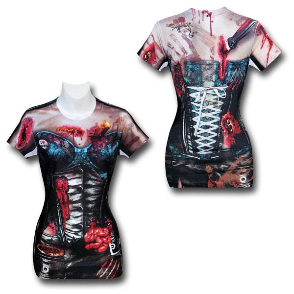 Zombie Corset Costume Juniors Shirt