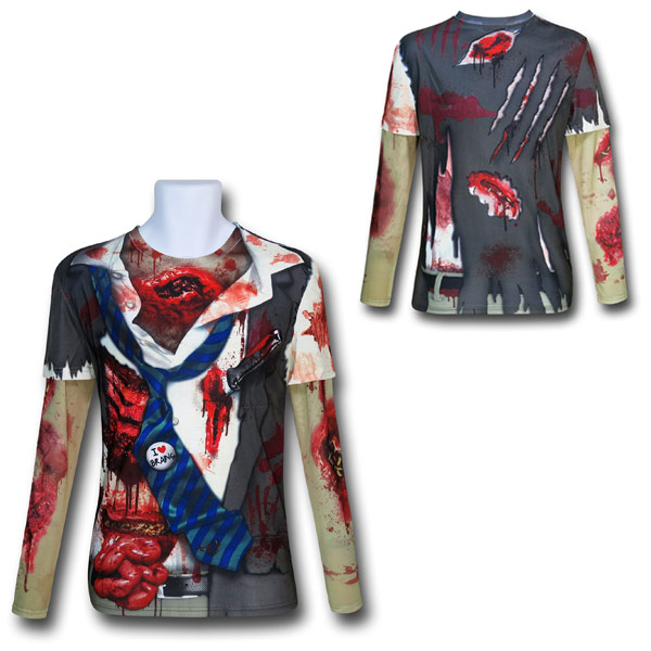 Zombie Costume Mesh Sleeve Shirt