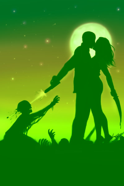 Zombie Lovers Art Print