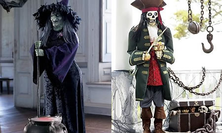 Animated Halloween Witch & Skeleton Pirate