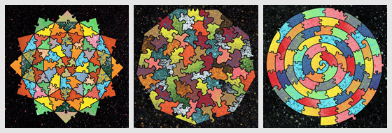 These baffler jigsaw puzzles feature abstract designs and odd shaped
