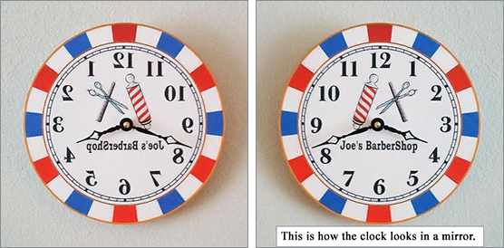Barbershop Backwards Mirror Clock