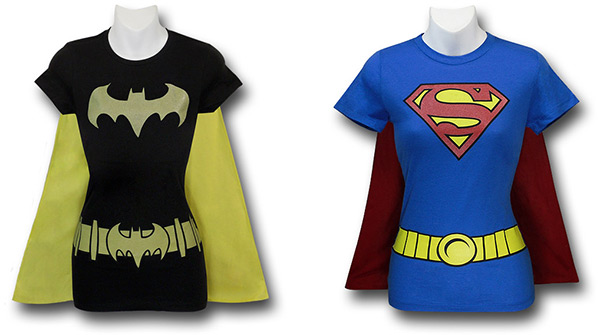 Batgirl and Supergirl Caped Costume Shirts