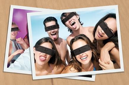 Black Censor Bar Party Glasses
