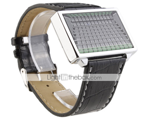 Blue LED Watch with Leather Band