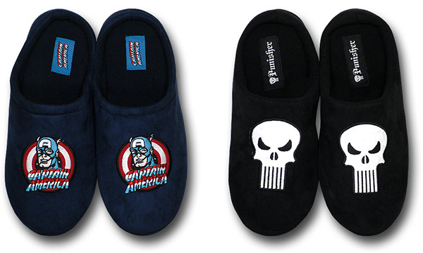 Captain America and Punisher Fleece Slippers