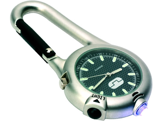 Carabiner with Watch and LED Flashlight