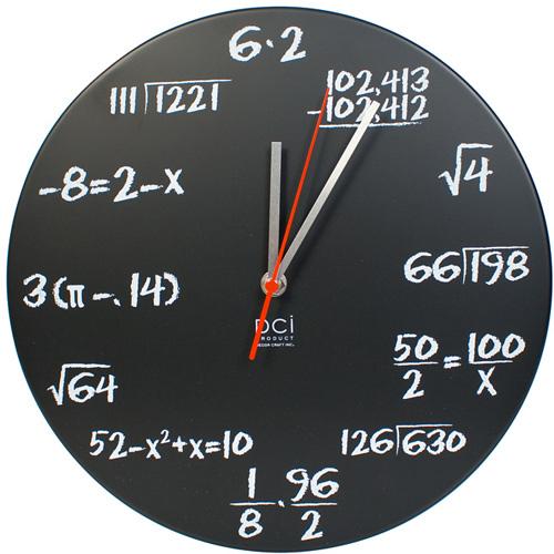 Chalkboard Pop Quiz Math Wall Clock