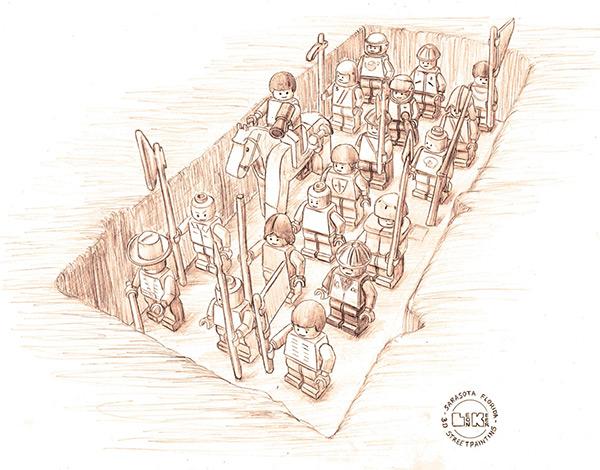 Chalk Lego Army 3D Concept