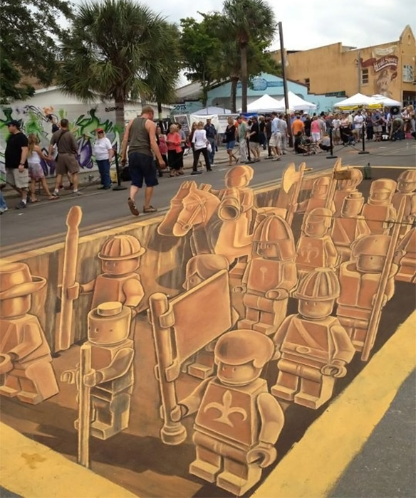 Sarasota Chalk Festival 3D Lego Army Finished
