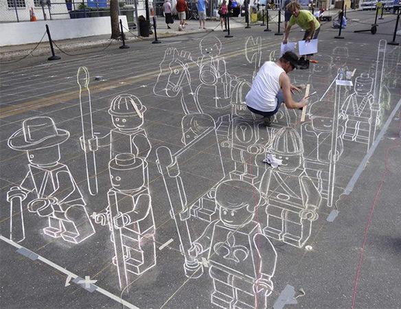 3D Chalk Lego Army