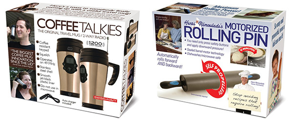 Coffee Talkies and Motorized Rolling Pin Prank Gift Boxes