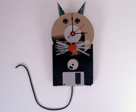 Computer Cat Wall Clock