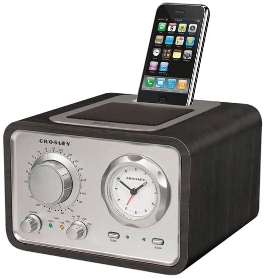 crosley iduet classic clock radio with ipod dock. Black Bedroom Furniture Sets. Home Design Ideas