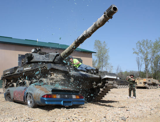Crush A Car With A Tank