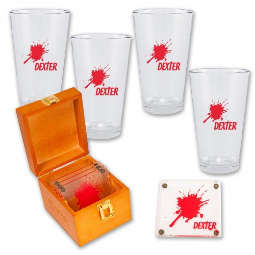Dexter Glasses and Coasters