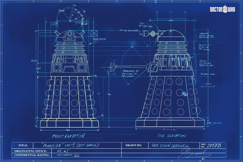 Dalek blueprint doctor who poster for Where to print blueprints