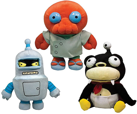 Futurama Series 1 Plush Bender, Zoidberg and Nibbler