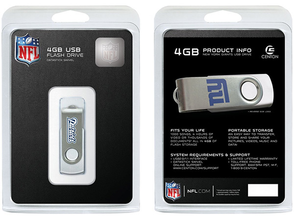 Giants and Patriots NFL Flash Drives