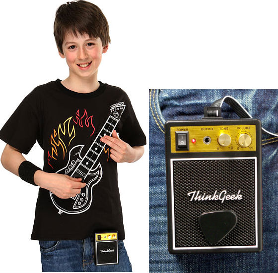 playable electric guitar t shirt with amp. Black Bedroom Furniture Sets. Home Design Ideas